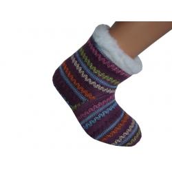 19 cm. Detské ponožkové papuče s indiánskym vzorom