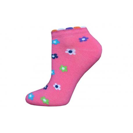 Parádne dámske kotníkové ponožky s kvietočkami