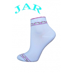 Kvalitné biele ponožky s ružičkami