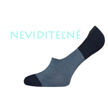 Pánske tm.sivé-modré bavlnené neviditeľné ponožky