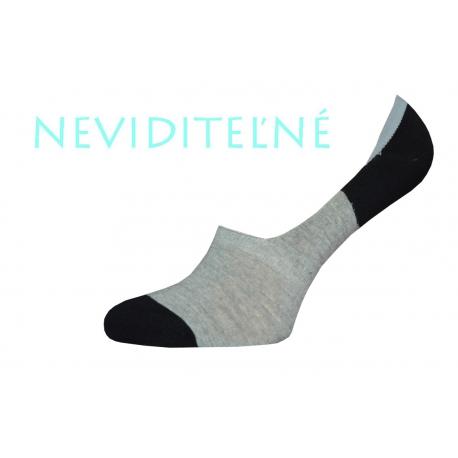 Pánske sivo čierne bavlnené neviditeľné ponožky