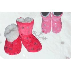 Ružové dámske teplé papuče na zimu