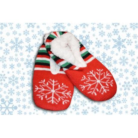Krásne dámske papučky s vianočným vzorom na zimu