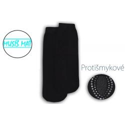 Protišmykové dámske pohodlné čierne ponožky namiesto papúč proti zime