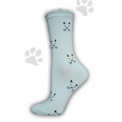 Jednofarebné ponožky s mačacím vzorom