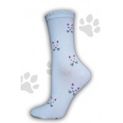 Biele ponožky s mačacím vzorom