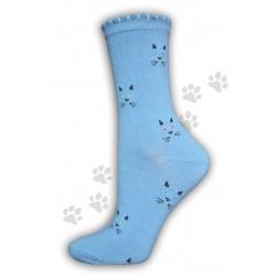 Bavlnené dámske vysoké modré ponožky s mačičkami