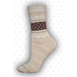 Bavlnené vzorované hnedé ponožky