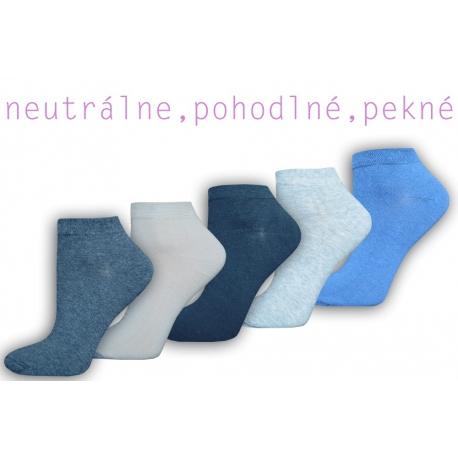 Výhodné 5 balenie jednofarebných dámskych členkových ponožiek