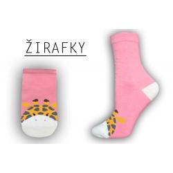 Ružové ponožky so žirafou