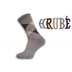 IBA 43-47! Kárované hnedé termo ponožky