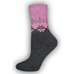 IBA 35-38! Vlnené ružovo-čierne ponožky s vločkami