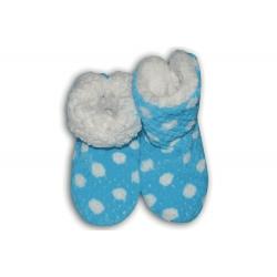 IBA 35-38! Bl. modré teplé papuče s bodkami