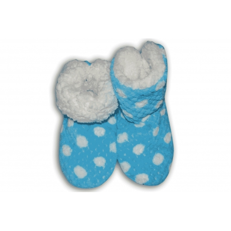 Modré teplé dámske papuče s bodkami