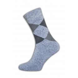 Kárované pánske sivé termo ponožky