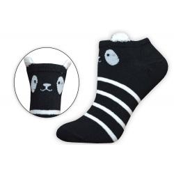 Čierne extra nízke ponožky s uškami