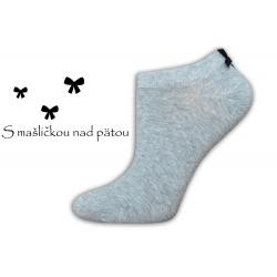 Luxusné dámske sivé ponožky s mašličkou
