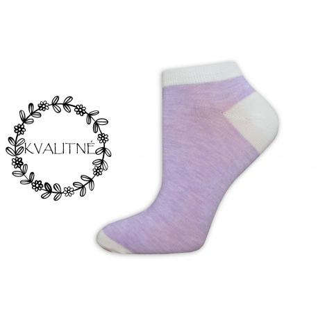 Kvalitné dámske bavlnené fialové členkové ponožky