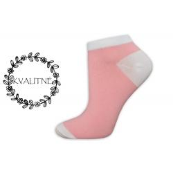 Kvalitné dámske bavlnené ružové členkové ponožky