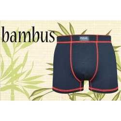 IBA 3XL! Čierne bambusové boxerky s červeným lemom