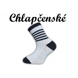 Detské sivé pásikavé bavlnené ponožky