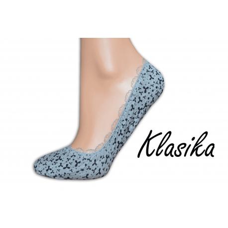 Sivé balerínkové ponožky so vzorom a krajkou