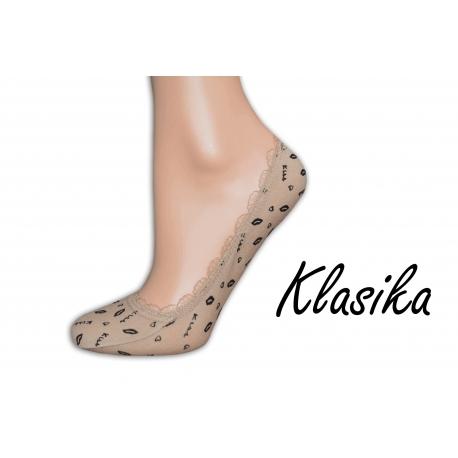 Telové balerínkové ponožky so vzorom a krajkou
