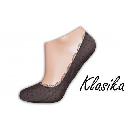 Hnedé balerínkové ponožky s bodkami a krajkou