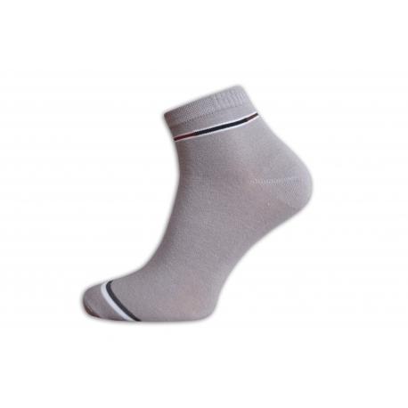 Sivé pánske kotníkové bavlnené ponožky