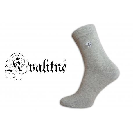 Pánske vysoké kvalitné bavlnené pohodlné sivé ponožky
