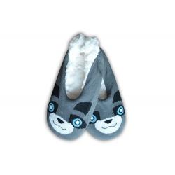 Balerínkové sivé zvieratkové dámske papuče