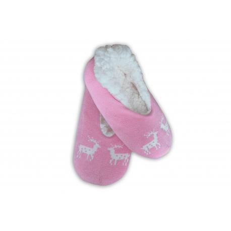 Balerínkové ružové dámske papuče s jeleňmi