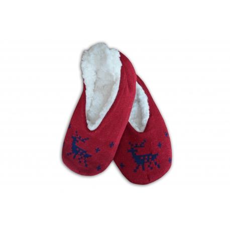 Bordové balerínkové dámske papuče s jeleňom
