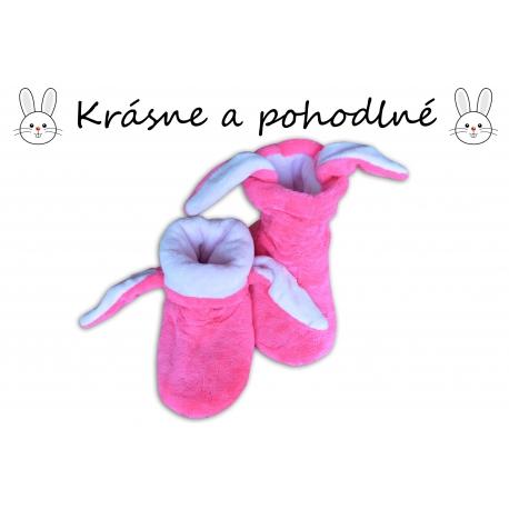 Zajačikové dámske vysoké papuče-ružové
