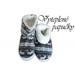 POSLEDNÝ KUS 40-41! Dámske vysoké papuče s nórskym vzorom-sivé