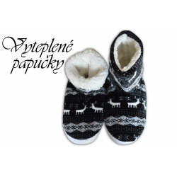 Dámske vysoké papuče s nórskym vzorom-čierne