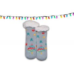 Detské huňaté ponožkové papuče