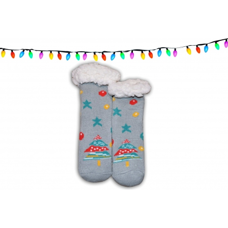 Vianočné huňaté detské ponožkové papuče