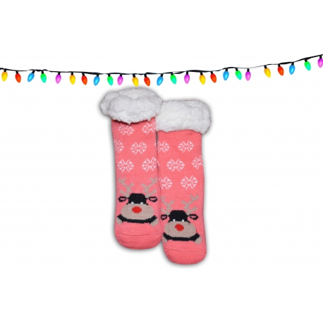 Vianočné huňaté detské ponožkové papuče 348b3d43900