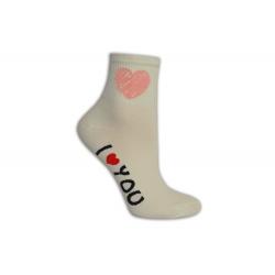 Ľúbim ťa dámske ponožky smotanové