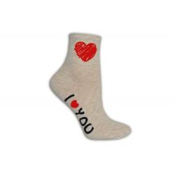 Ľúbim ťa dámske ponožky béžové