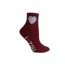 Ľúbim ťa dámske ponožky bordové