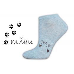 Sivé nízke ponožky na leto s mačkou