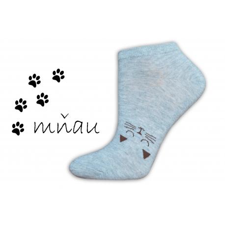 Veselé ponožky na leto s mačičkou-sivé