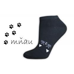 Veselé ponožky na leto s mačičkou-čierne