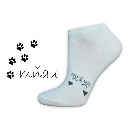Veselé ponožky na leto s mačičkou-maslové