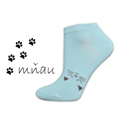 Veselé ponožky na leto s mačičkou-pistáciové