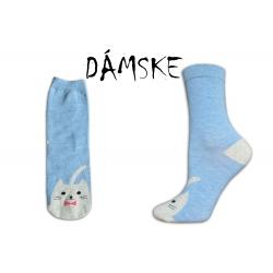 ONA+ONO Obrázkové dámske modré ponožky s mačičkou