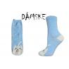 Obrázkové dámske modré ponožky s mačičkou