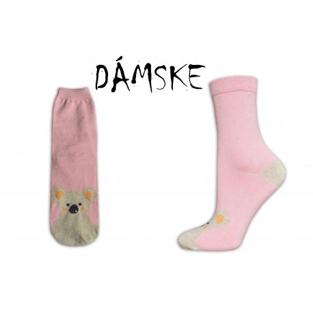 ONA+ONO Obrázkové dámske ružové ponožky s mackom